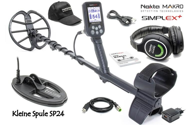 Nokta/Makro Simplex+ mit Funkkopfhörer und zusätzlicher kleiner Spule SP24
